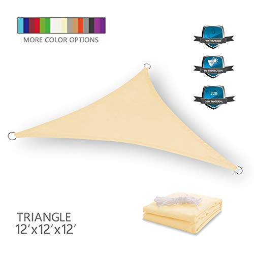 Tuosite Terylene Waterproof Sun Shade Sail UV Blocker Sunshade Patio Equilateral Triangle Knitted 220 GSM Block Fabric Pergola Carport Awning 12' x 12' x 12' in Color Beige