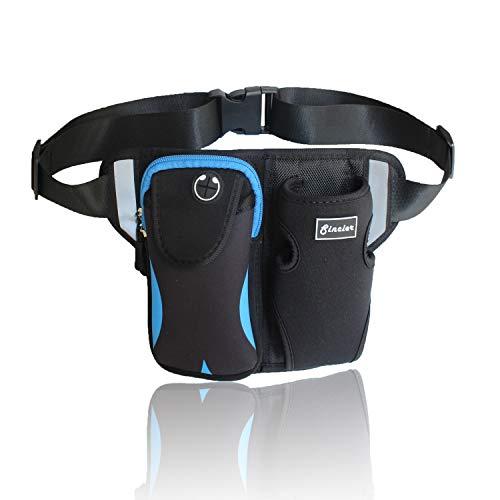 Waist Bag Funny Pack for Men Women, Sincier Running Belt with Water Bottle Holder,Zipper Pockes ,Reflective Strips on Travel Bum Bag for Jogging, Hiking, Camping, Cycling,Blue