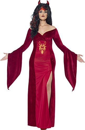 Halloween Costume Devil Horns (Smiffy's Women's Devil Costume, Dress and Horns, Legends of Evil, Halloween, Plus Size 26-28, 44337)
