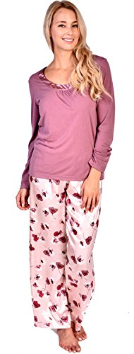 Patricia Women's Satin Soft Pajama Bottoms With Knit Long Sleeve Top (Lavender and Floral Print, (Floral Print Knit Pajamas)