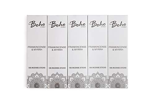 The Boho Street Premium Incense Sticks - Frankincense Myrrh 100% Hand Rolled Hand Dipped in India 100 Sticks Pack (100)