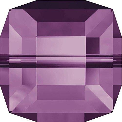 (5601 Swarovski Crystal Beads Cube 8-12mm | Amethyst | 8mm - Pack of 10 | Small & Wholesale Packs )