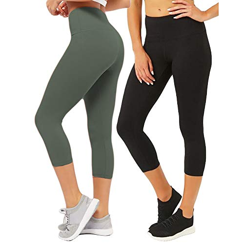 CAMPSNAIL Plus Size High Waisted Leggings for Women Yoga Pants Seamless Capri Leggings Compression Athletic Workout ()