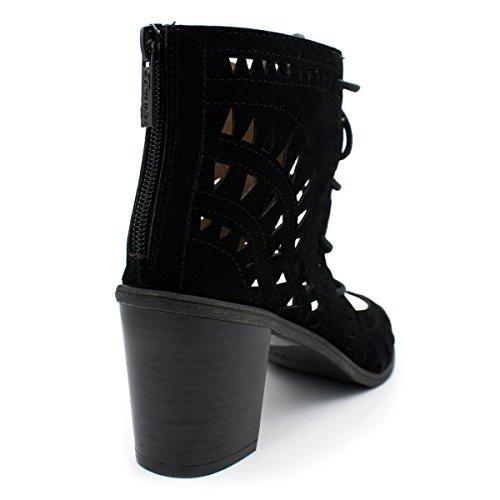 Breckelles Kvinners Lasercut Stablet Tykk Hæl Titte Toe Sandal Sorte Ts