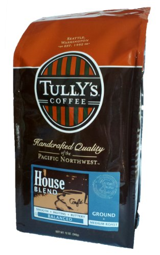 Tully's Coffee House Blend, Ground, 12-Ounce Bags (Pack of 2)