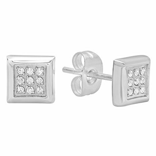 Hip Hop Faux Diamond Stud Earrings (Men's Stainless Steel Silver-Tone Diamond Accent Square Stud Earrings)