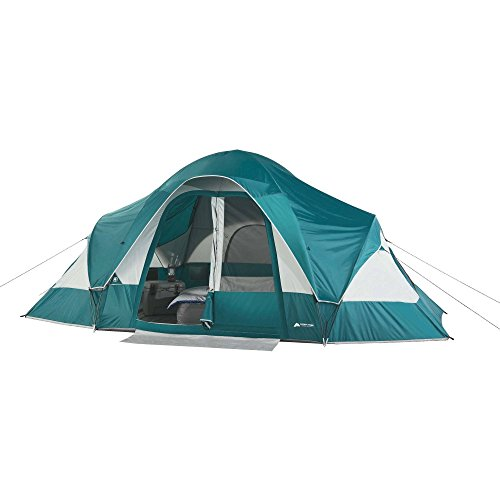 Family Camping Tent for 8-Persons with Removable Center Room Divider and Two Front Doors – Turquoise Light Grey
