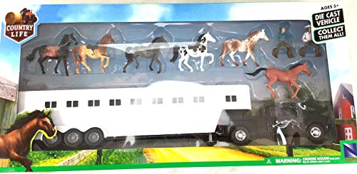 New Ray Toys - Black Pick Up Fifth Wheel Horse Trailer Set