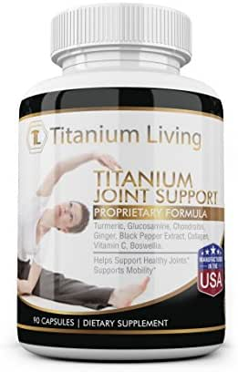 Titanium Joint Support with Turmeric, Ginger and Glucosamine, Anti-Inflammatory Joint Supplement for Flexibility and Pain Relief (90 Capsules)