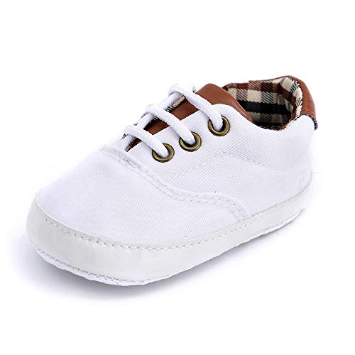 Baby Boys Canvas Shoes Premium Soft Sole Lace Up Toddler First Walkers Infant Sneakers Newborn Crib Shoes (White,0-6 Months)