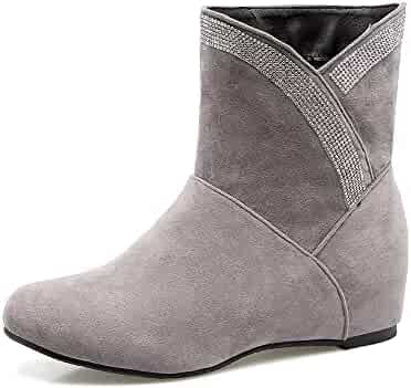 VogueZone009 Womens Solid PU Kitten-Heels Pull-on Round Closed Toe Boots