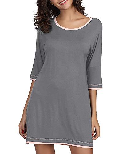 Genhoo Women's Sleepwear Casual Scoop Neck Nightshirt Short Sleeve Nightgown Grey XL