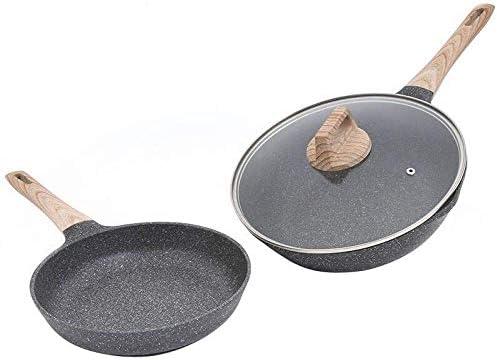 ふたを設定麦飯石非煙ノンスティックパン家庭用多機能パンケーキ餃子ウォック金型電力一般的なキッチンポット太いと耐久性/フライとフライパン+フライパン wok (Color : As Shown, Size : Frying pan+wok set)