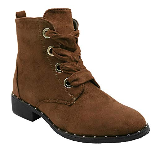 (Blue Womens Low Heel Ankle High Lace Up Side Zip Fashion Winter Fall Boots 2018 Holidays Collection - Vivi-3 Size -007 TAN)