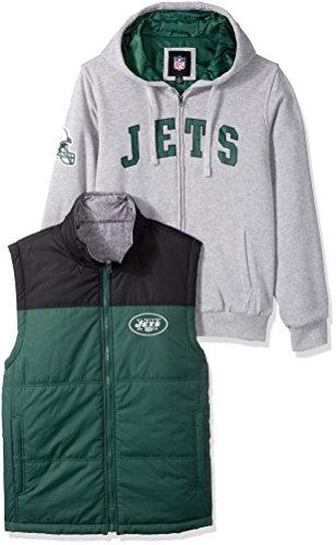 NFL New York Jets Men's 3-in-1 Fleece Full Zip Systems Jacket, 3X-Large, Heather Grey