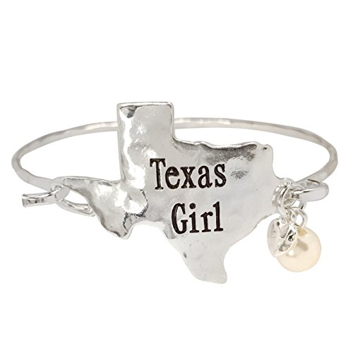 State Shape Map WIth Dangle Charm Hook Wire Bangle Bracelet (Texas Silver Tone) (Shape Dangle Charm)