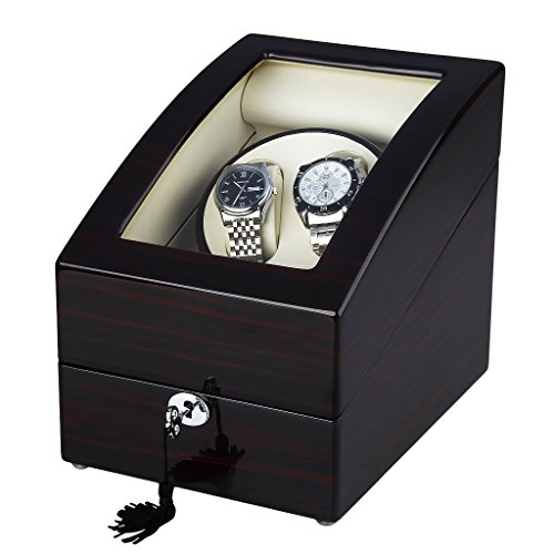 CRITIRON Automatic Watch Winder 2+3 Wood Storage Display Rotating Case Box (Brown+White)