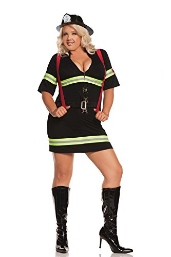 Elegant Moments Women's Plus-Size Ms.Blazin Hot-Plus, Black, 1X/2X (Slutty Firefighter Costume)