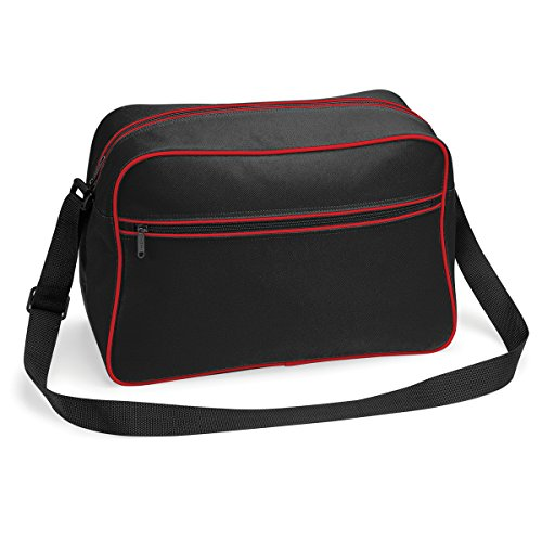 Bolso BagBase regulable con bandolera retro 48x28x18cm 18L brillante blanco real Black / Classic Red