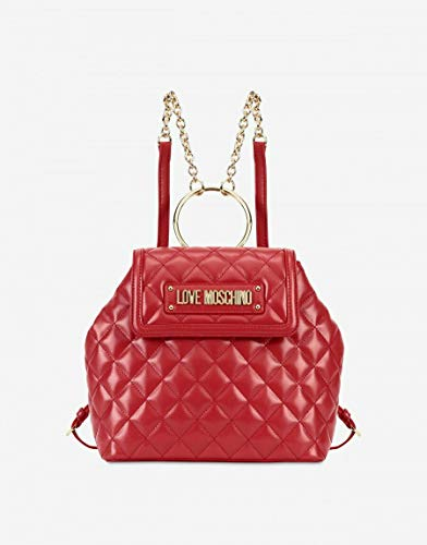 LOVE Moschino Women's Shinny Quilted Backpack Red One Size ()