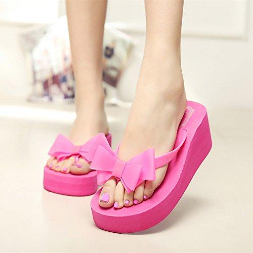 Eshion Mesdames Plate-forme Dété Tongs Tong Coin Plage Sandales Knotbow Chaussures Rose Rouge