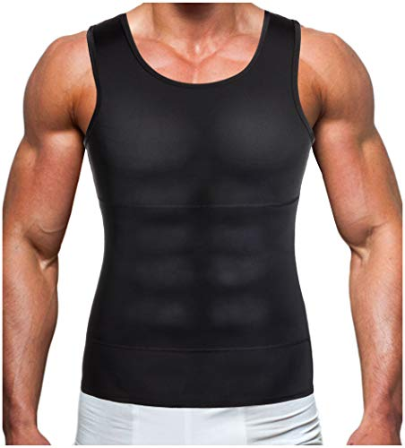 Gotoly Men's Compression Shirt to Hide Gynecomastia Moobs Chest Slimming (Black, 4XL: Fit Waist 40.9-43.0 Inch)