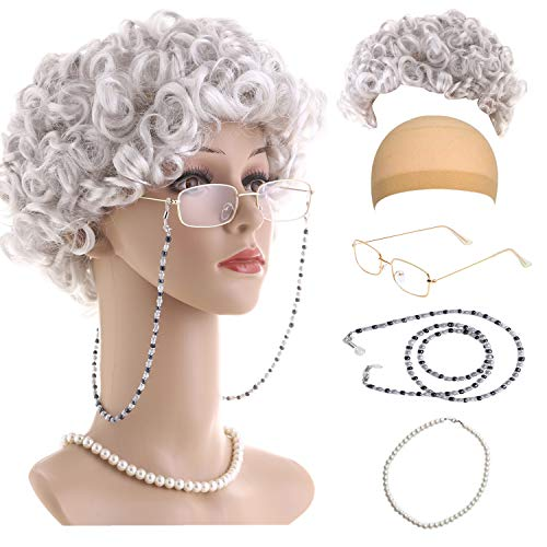 Old Lady Cosplay Set-Grandmother Wig,Wig Caps,Madea Granny Glasses, Eyeglass Retainer Chain,Pearl Necklace(5 Pieces) Fits All - Wig Costume Girl