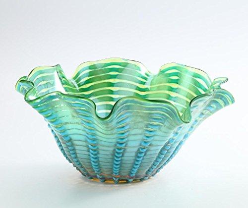 lass Murano Art Style Vase Bowl Blue Green Handkerchief Ruffle ()