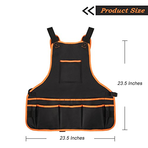Bingogous Tool Apron Woodworking Apron, Heavy Duty Canvas Work Apron with 16 Pockets for Holding Tools, Cross-Back Straps Adjustable Size by Bingogous (Image #1)