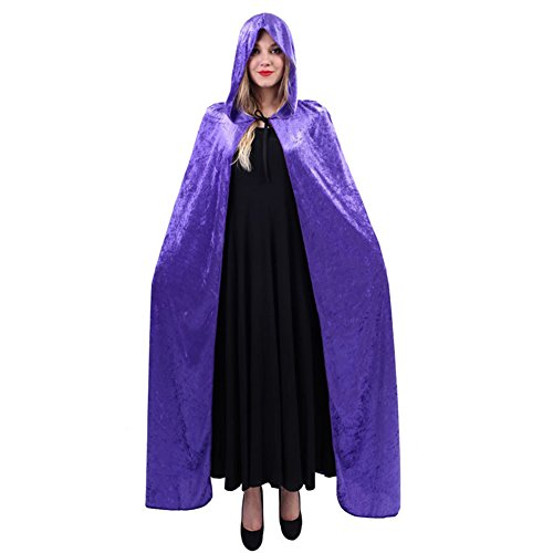 FloYoung Gothic Hooded Velvet Cloak Wicca Cape Halloween Party Costumes (Sexy Katniss Costumes)