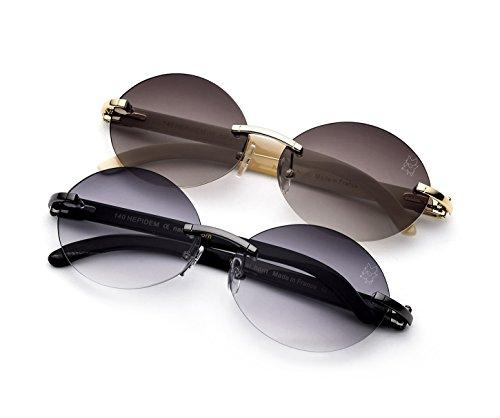 bc683c20e5d9 HEPIDEM Buffalo Horn Handmade Sun Glasses Round Rimless Luxury Sunglasses  0817