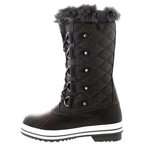 Tall Womens Lined Polar Rain Snow Quilted Snow 7 Leather Grey Fur Waterproof Boot Warm Size Boot Winter wfISIURq