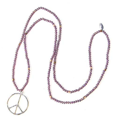 KELITCH Classic Peace Sign Love Hippie Pendant on Frosted Crystal Beaded Necklace (Purple ()