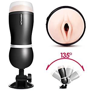 ZEMALIA Luna II Male Masturbators Vagina Pocket Man Masturbation Cup Sex Toys for male Realistic Textured Discreetly Packed(Black)