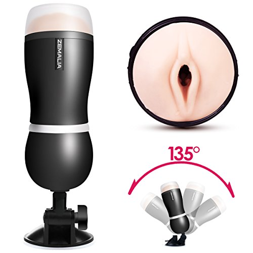 ZEMALIA-Luna-II-Male-Masturbators-Vagina-Pocket-Man-Masturbation-Cup-Sex-Toys-for-male-Realistic-Textured-Discreetly-PackedBlack