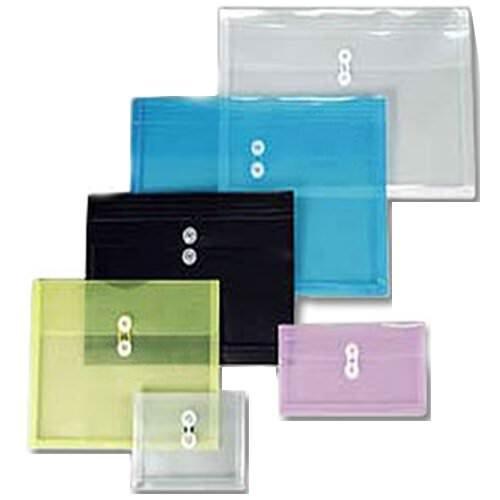 JAM PAPER Plastic Envelopes with Button & String Tie Closure - Large Booklet - 12 x 18 - Blue - 12/Pack