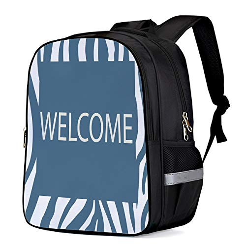 Laptop Backpacks for Kids Girls & Boys, Welcome Zebra Textured Blue College Students School Bags Bookbag Casual Daypack - Lightweight, Water Resistant