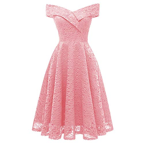 TIFENNY Women's Vintage Princess Dresses Floral Lace Cocktail X Off Shoulder Party A-line Swing Dress New Pink