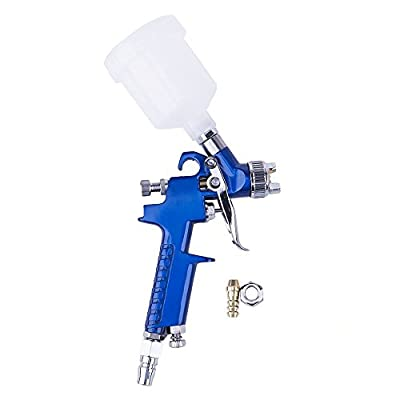 WElinks HVLP Mini Gravity Feed Air Spray Paint Gun with Nozzle 1.0mm, 125ml Cup Capacity, Ideal for a Wide Range of Small Paint Projects Painting Car Auto