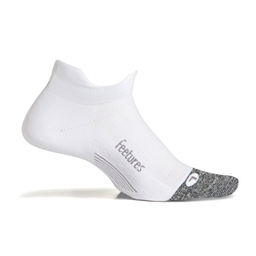 Feetures - Elite Light Cushion - No Show Tab - Athletic Running Socks for Men and Women - White - Size Large