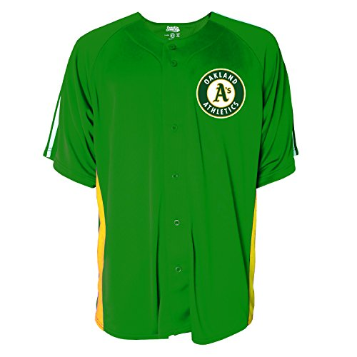 MLB Oakland Athletics Men's Button Down Fashion Jersey, Dark Green, X-Large (Jersey Embroidered Down Button)