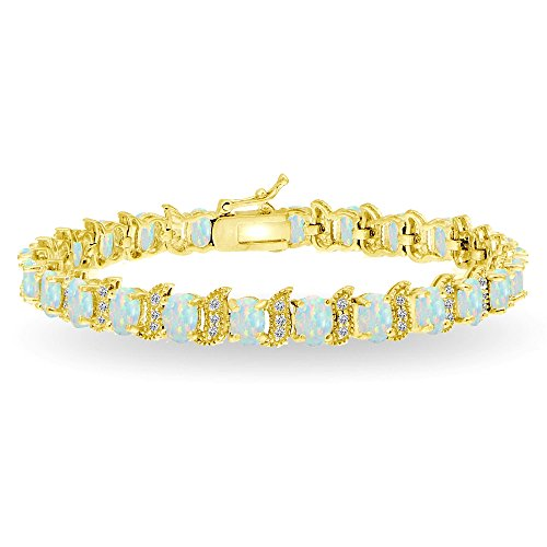 Gold Opal Bracelet (Yellow Gold Flashed Sterling Silver Simulated White Opal 6x4mm Oval and S Tennis Bracelet with White Topaz Accents)