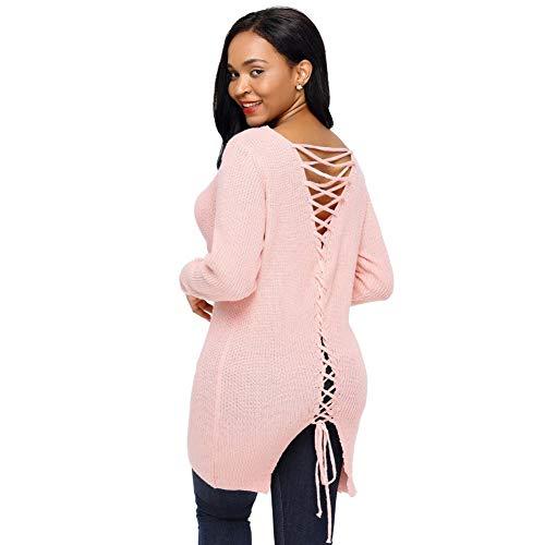 Pink Solido Manica Di Maglia Donna Semplice Causale Nbe Bendaggio Maglione In Aperta Collo Posteriore V Lunga Colore a70Z0w