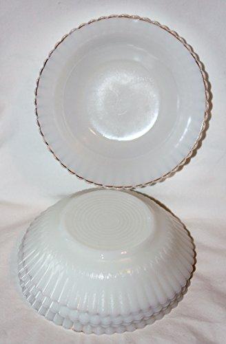 Vintage Monax Petalware Gold Trim White Depression Cereal Berry Bowls, Set of 5