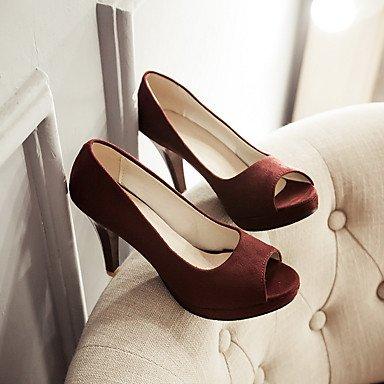 Le donne sexy elegante sandali donna tacchi Primavera Estate Autunno Inverno scarpe Club vello Office & Carriera Party & abito da sera Chunky Heel Nere viola , Borgogna Borgogna , us8 / EU39 / UK6 / C