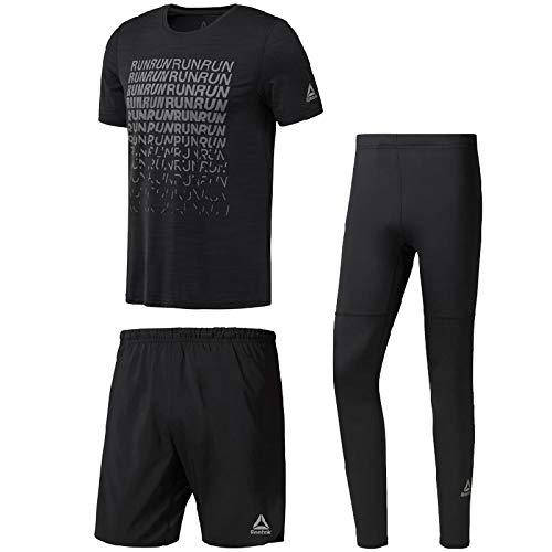 不変外側彼らのランニングウェア 3点セット メンズ リーボック Reebok 半袖Tシャツ パンツ タイツ CY4652 CY4683 D92941/男性用 マラソン ジョギング トレーニング ジム スポーツウェア/Reebok-Gset