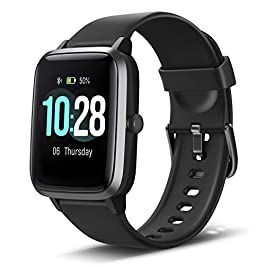 Anbes Health and Fitness Smartwatch with Heart Rate Monitor, Smart Watch for Home Fitness Tracking, Yoga, Exercise Bike, Treadmill Running, Compatible with iPhone and Android Phones for Women Men