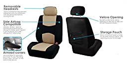 FH Group FB051BEIGE115 Beige/Black Rear Split Flat Cloth Multifunctional Seat Cover (Airbag Compatible Full Set)
