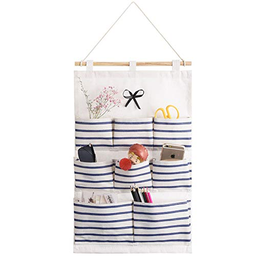 Aoolife Hanging Storage Bag, Linen Cotton Fabric Wall Door Cloth Hanging Organizer, 8 Pocket Wall Hanging Multipurpose Accessory Organizer, Navy Stripe (8 Pocket)
