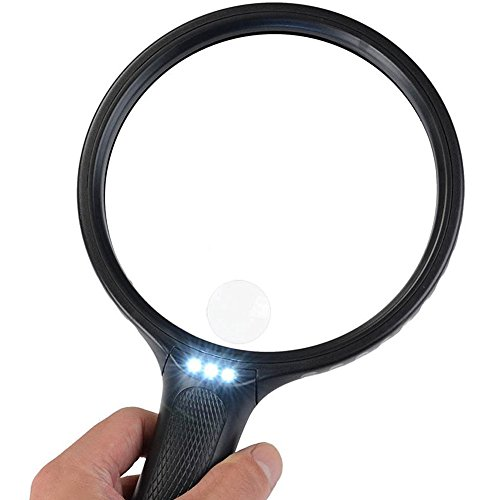 BearMoo 5.5 Inch Extra Large Magnifying Glass with Light 2X Lens 5X Zoom Jumbo Lighted Magnifier Glass by BearMoo